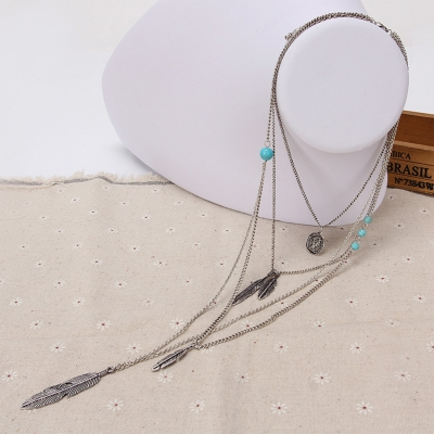 Women's Fashion Double Layer Turquoise Feather Pendant Necklace stylesimo.com