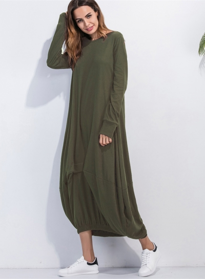 Women's Long Sleeve Loose Fit Solid Maxi Dress