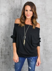 Women's Fashion off Shoulder Long Sleeve Ripped Loose Fit Tee
