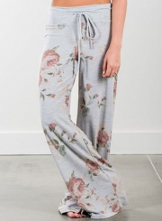 Women's Loose Floral Printed Wide Leg Pants