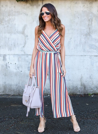 Women's Spaghetti Strap V Neck Sleeveless Wide Leg Striped Jumpsuit