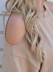 Women's off Shoulder Long Sleeve Backless Tee