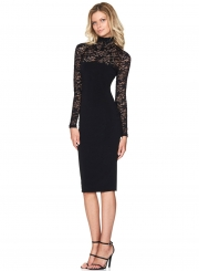 Women's Fashion Mock Neck Long Sleeve Lace Bodycon Dress