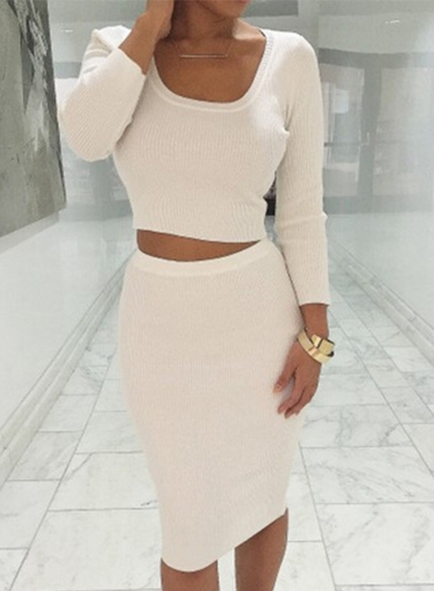 Women's Fashion Solid Long Sleeve Crop Top Midi Skirt 2 Piece Set