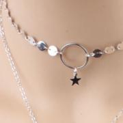 Women's Lariat Sequins Pendant Long Chain Choker Necklace