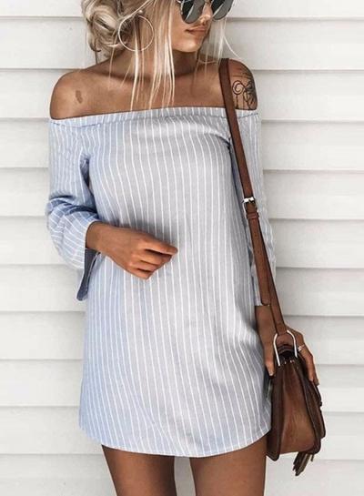 Women's Slash Neck Long Sleeve Striped Mini Dresses