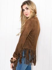Women's Solid Open Front Long Sleeve Coat with Tassel