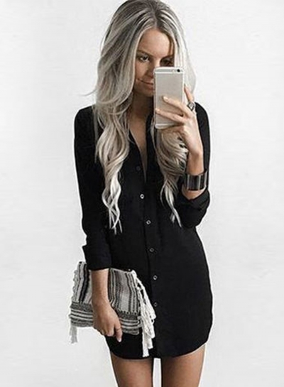 Women's Long Sleeve Button down Solid Loose Shirt