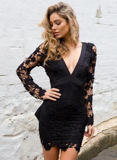 Women's Deep V Neck Backless Lace Bodycon Dress