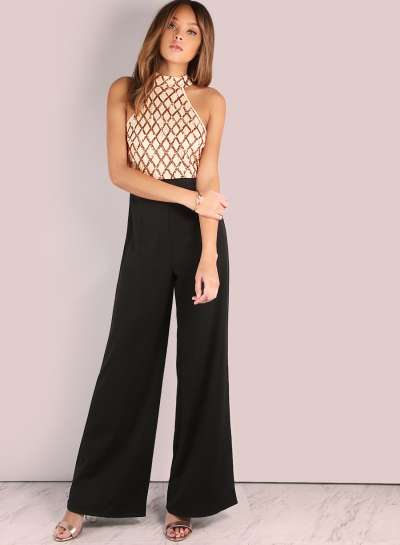 Women's Halter Off Shoulder Sequin Panel Jumpsuit