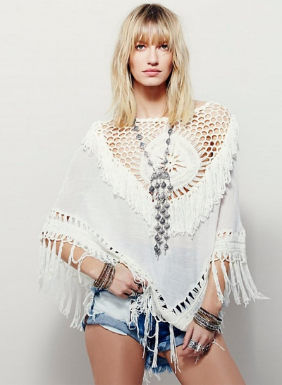 Women's Boho Hollow out Cape Blouse with Tassel