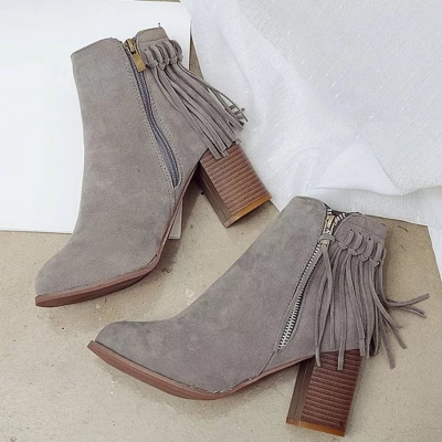 Women's Fashion Round Toe Zipper Fringe Suede Ankle Boots