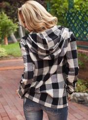 Fashion Long Sleeve Pullover Plaid Hoodie Shirt