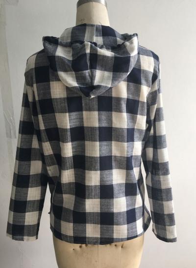 Fashion Long Sleeve Pullover Plaid Hoodie Shirt stylesimo.com