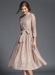 Elegant 3/4 Sleeve Lace Midi Dress with Belt