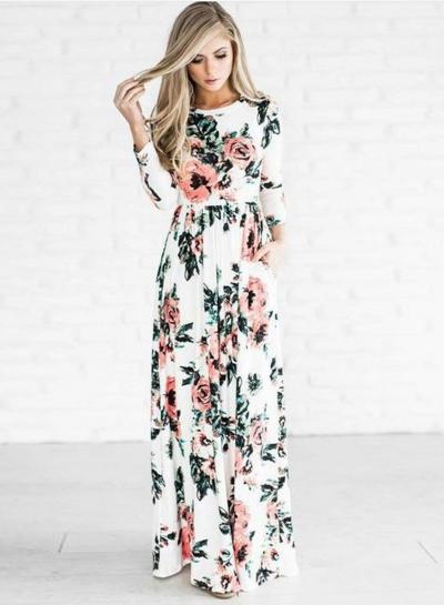 Floral Long Sleeve Maxi Dress STYLESIMO.com