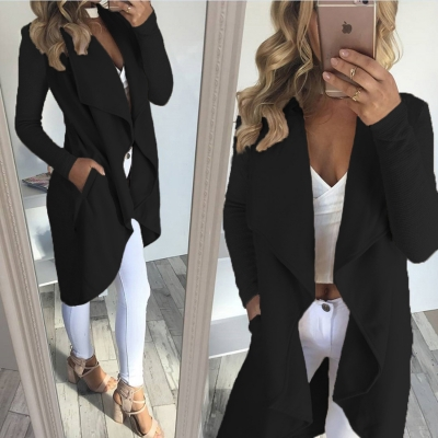 Open Front Solid Long Sleeve Trench Coat