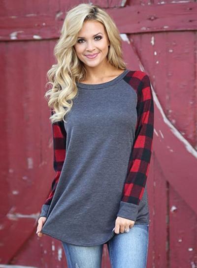 Round Neck Plaid Sleeve Tee Shirt STYLESIMO.com