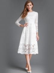 Round Neck Lace Panel Long Sleeve Dress