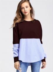Casual Round Neck Long Sleeve Splicing Sweatshirt