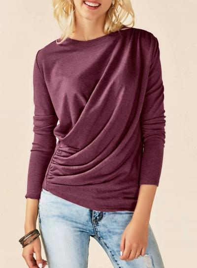 Solid Round Neck Long Sleeve Ruffle Knit Tee Shirt STYLESIMO.com