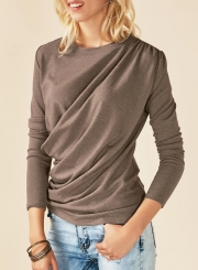 Solid Round Neck Long Sleeve Ruffle Knit Tee Shirt