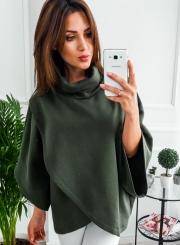 Solid High Neck Irregualr Pullover Sweatshirt