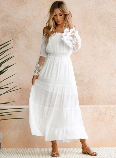 Off Shoulder Flare Sleeve Lace Maxi Dress