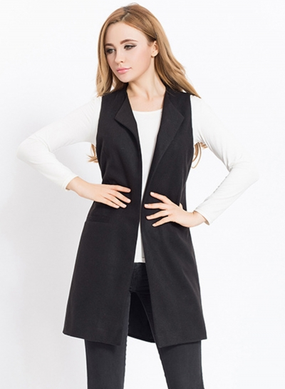 Solid Sleeveless Open front Vest