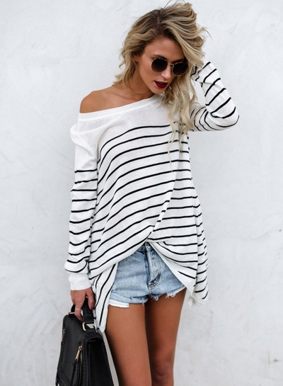 Casual Round Neck Long Sleeve Striped Splicing Pullover Tee Shirt