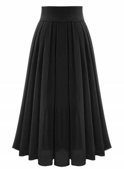 High Waist Maxi Chiffon Pleated Skirt