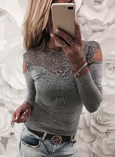 Fashion Round Neck Long Sleeve Off Shoulder Lace Splicing Tee Shirt