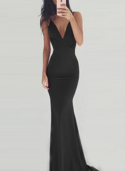 Fashion V Neck Sleeveless Backless Maxi Prom Dress STYLESIMO.com