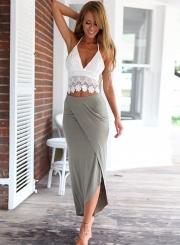 Women's Fashion 2 Piece Irregular Lace Skirt Set Dress Outfit