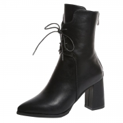 Solid Block Heels Lace up Pointed Toe Mid-calf Boots