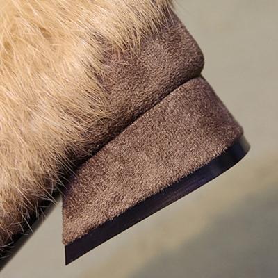Square Toe Faux Fur Flat Rivet Warm Shoes stylesimo.com