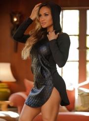 Fashion Hooded Long Sleeve PU Leather Splicing Mini Dress