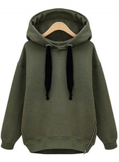 Long Sleeve Side Zip Pullover Hoodie