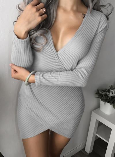V Neck Long Sleeve Corduroy Bodycon Dress