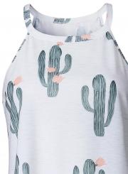 Sleeveless Cactus Printed Pullover Tank
