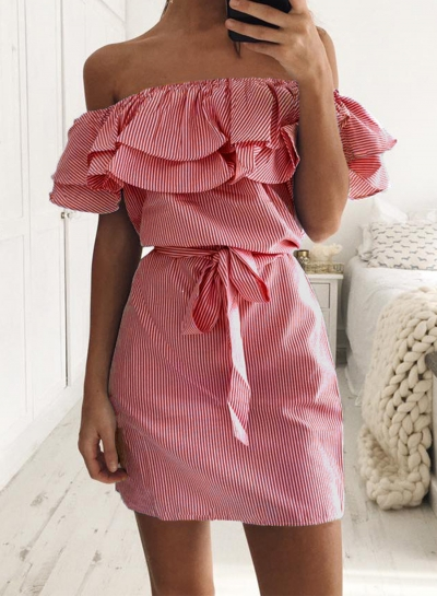 Casual Stripe Off Shoulder Ruffle Dress with Belt