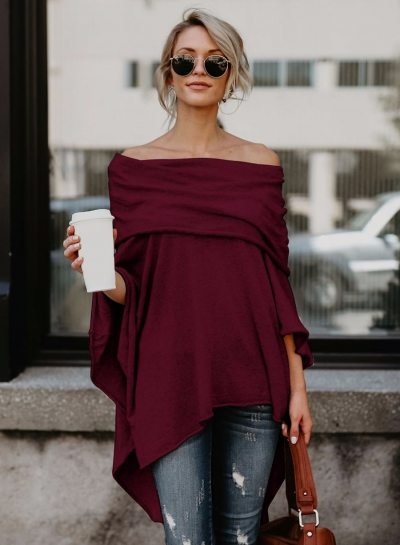 Off Shoulder Irregular Loose Fit Tee STYLESIMO.com