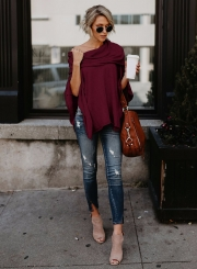 Off Shoulder Irregular Loose Fit Tee