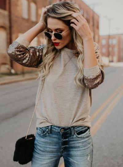 Fashion Round Neck Long Sleeve Sequins Decoration Tee Shirt