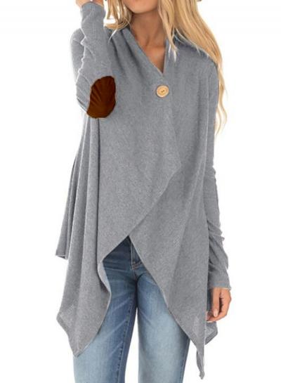 Fashion V Neck Long Sleeve Solid Color Irregular Cardigan