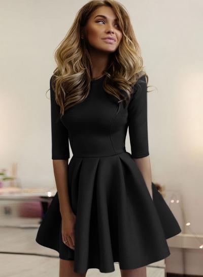 Half Sleeve A-line Party Dress