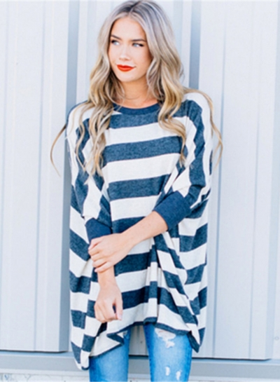 Fashion Loose Fit Stripe Pullover Batwing Sleeve Tee STYLESIMO.com
