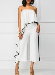 Fashion Strapless Ruffle Wide Leg Jumpsuit