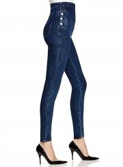 Fashion High Waist Button Jeans Denim Pants