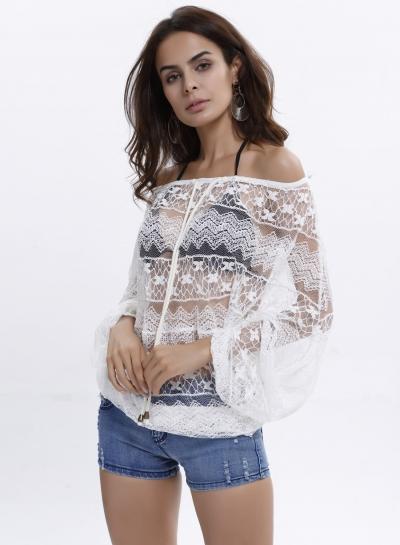 Off Shoulder Long Sleeve Lace Blouse